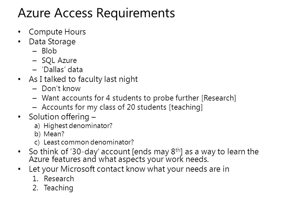 Azure Access Requirements