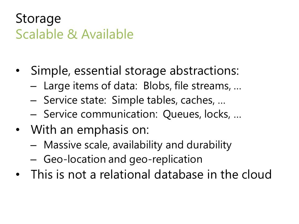 Storage Scalable & Available