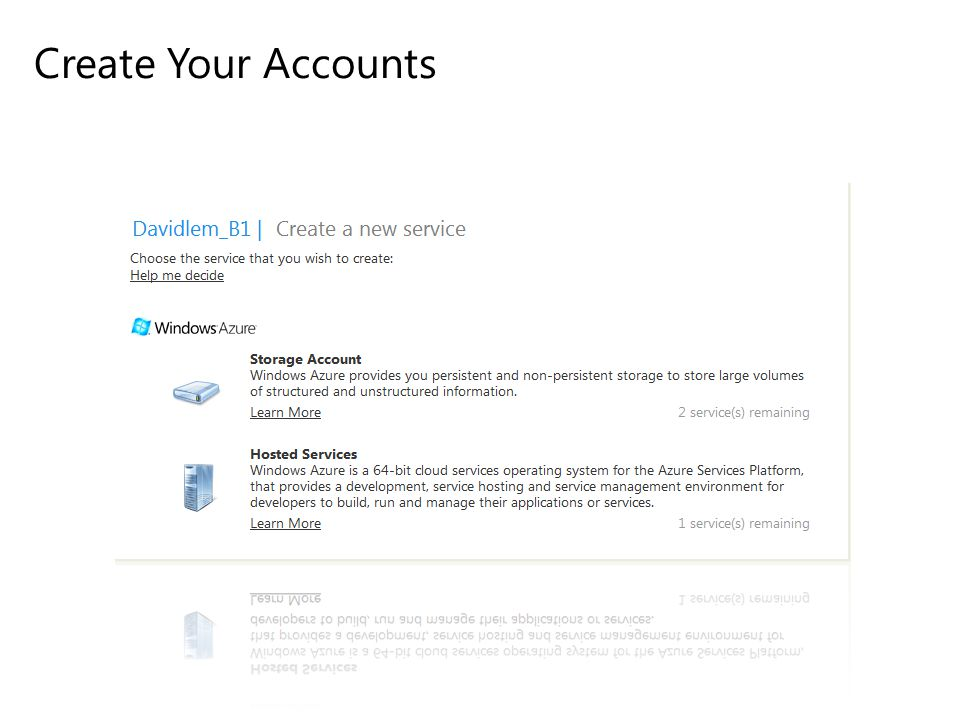 Create Your Accounts