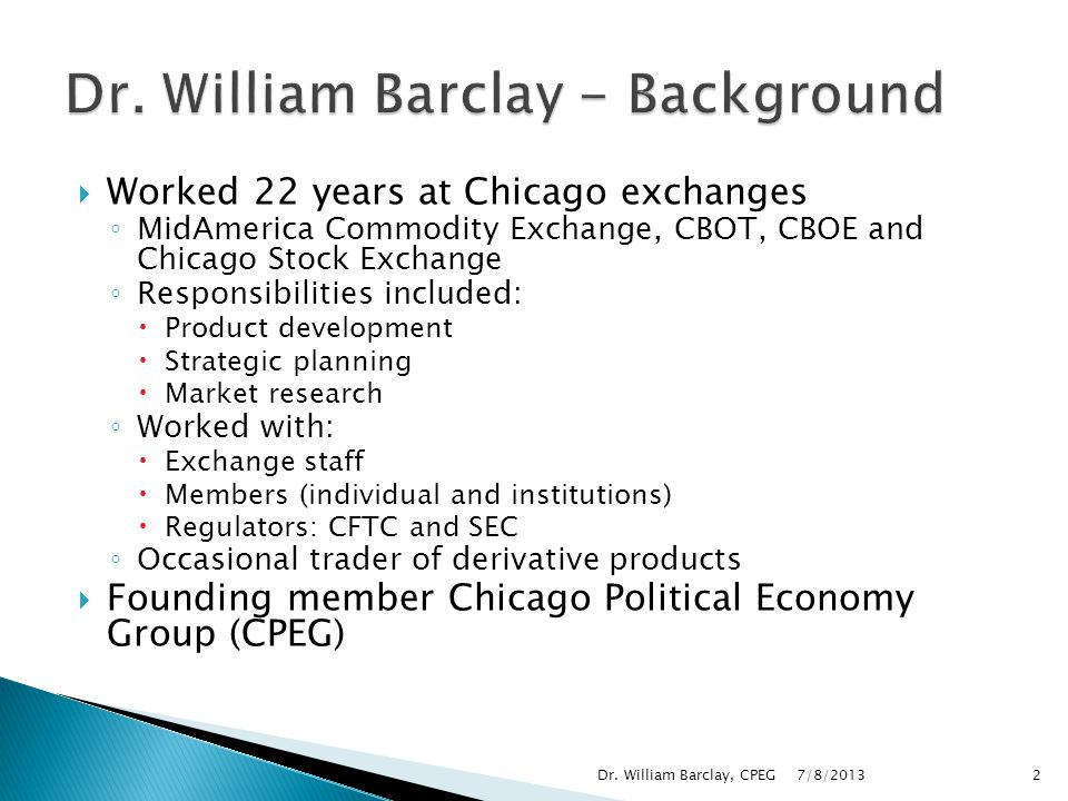 Dr. William Barclay - Background