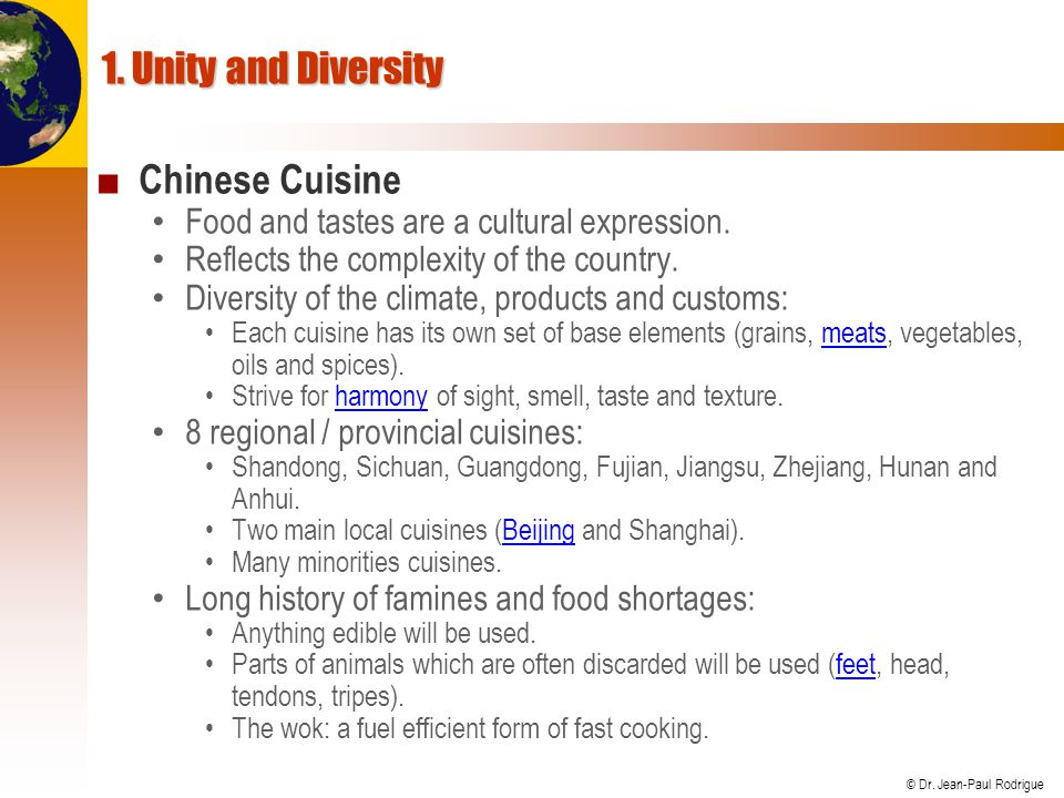 1. Unity and Diversity Chinese Cuisine