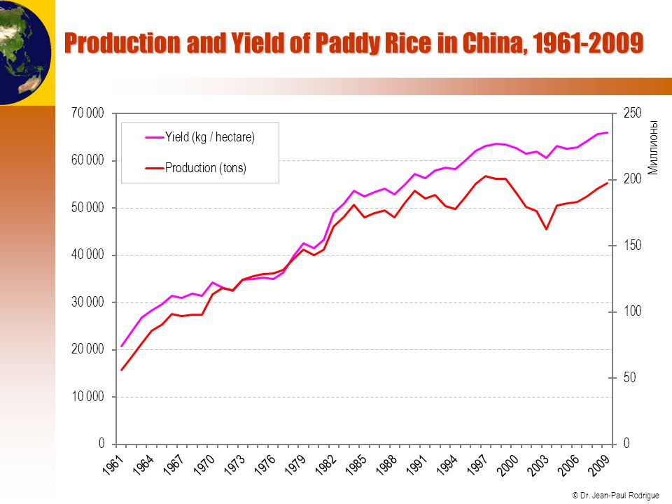 Production and Yield of Paddy Rice in China, 1961-2009