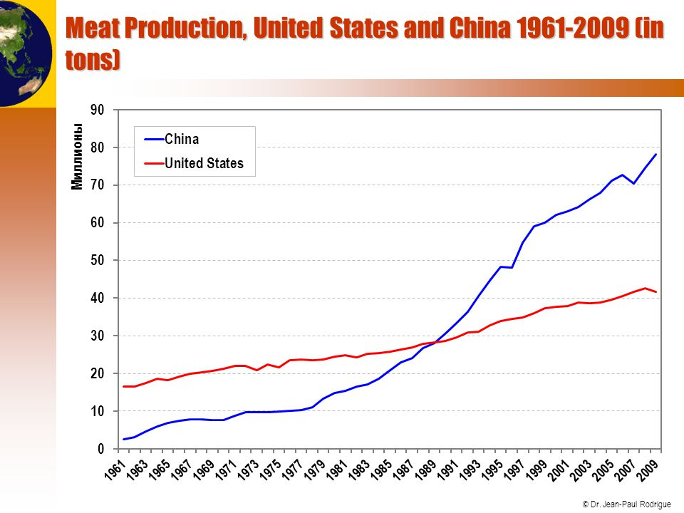 Meat Production, United States and China 1961-2009 (in tons)