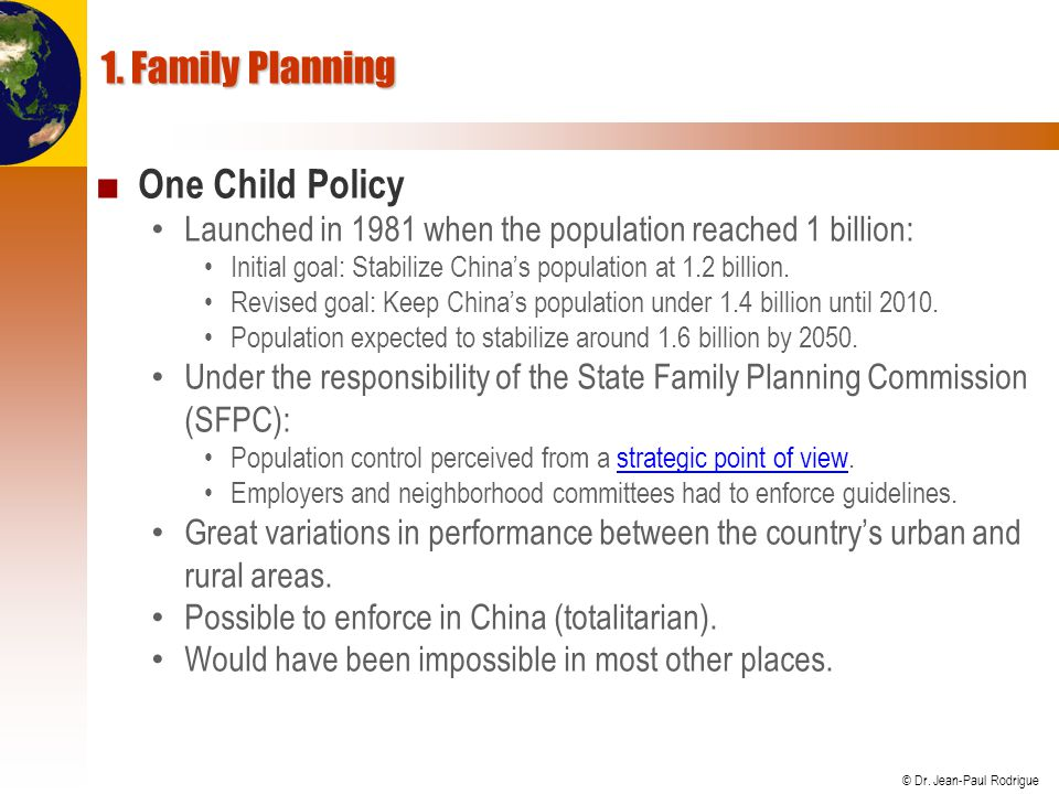 1. Family Planning One Child Policy