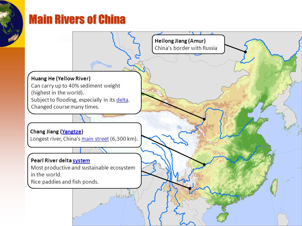 Main Rivers of China Heilong Jiang (Amur) China s border with Russia
