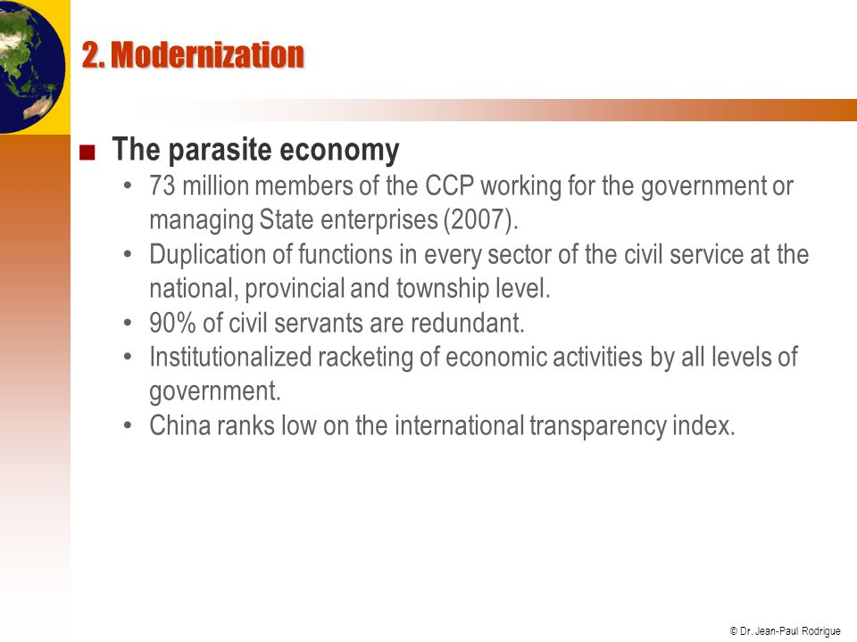 2. Modernization The parasite economy