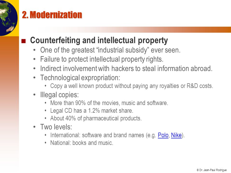 Counterfeiting and intellectual property