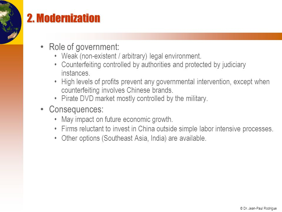 2. Modernization Role of government: Consequences: