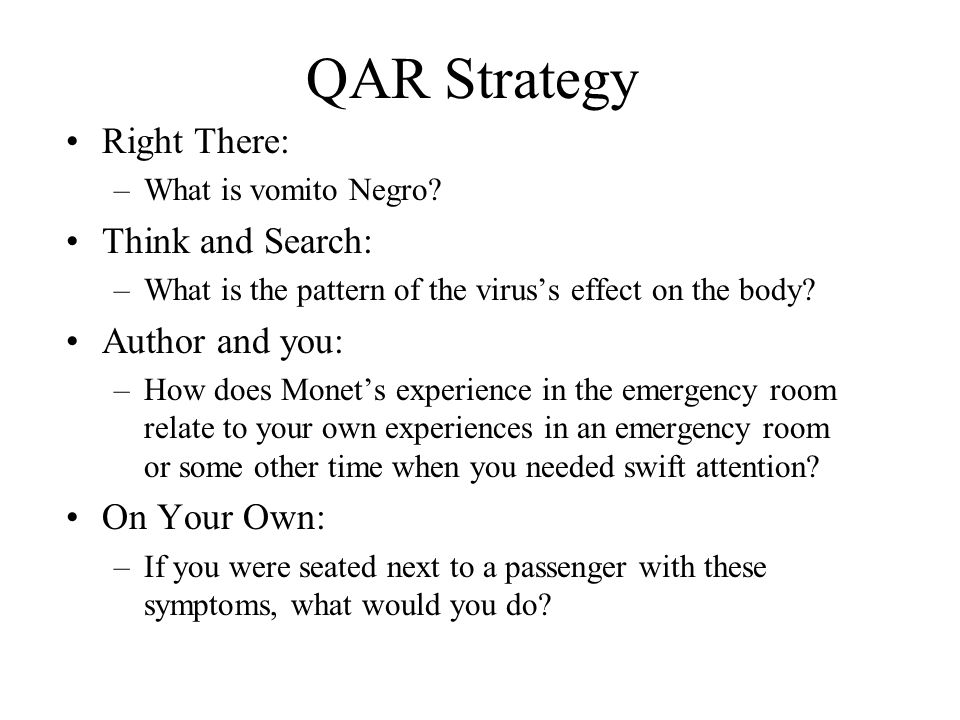 QAR Strategy Right There: Think and Search: Author and you: