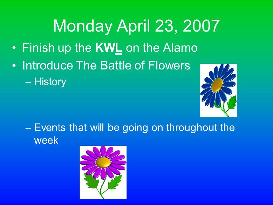 Monday April 23, 2007 Finish up the KWL on the Alamo