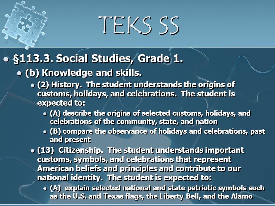 TEKS SS §113.3. Social Studies, Grade 1. (b) Knowledge and skills.