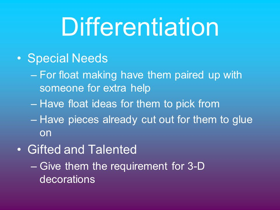 Differentiation Special Needs Gifted and Talented