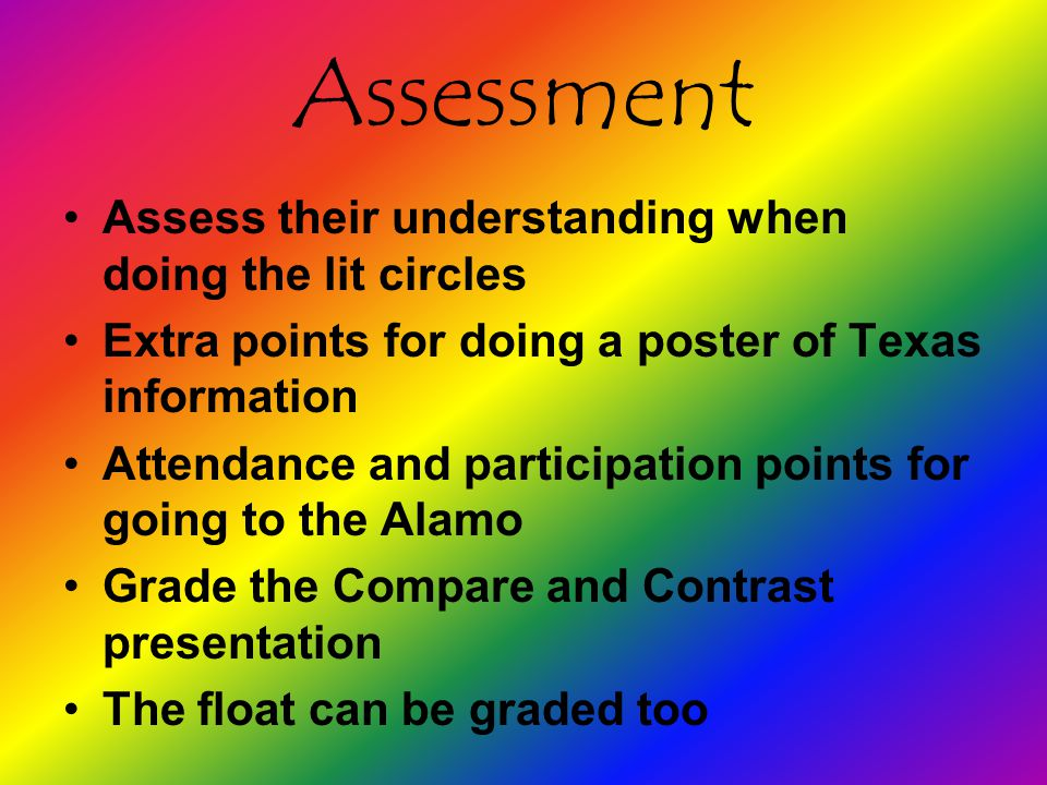 Assessment Assess their understanding when doing the lit circles