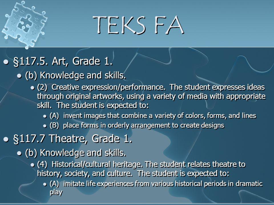 TEKS FA §117.5. Art, Grade 1. §117.7 Theatre, Grade 1.
