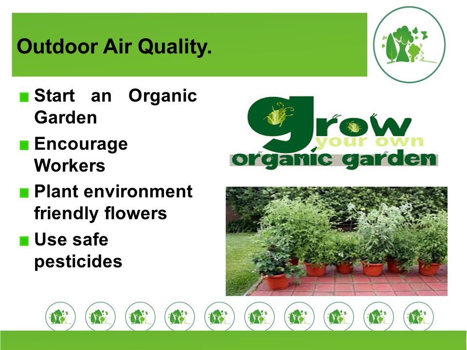 Outdoor Air Quality. Start an Organic Garden Encourage Workers