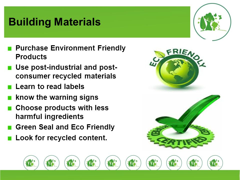 Building Materials Purchase Environment Friendly Products