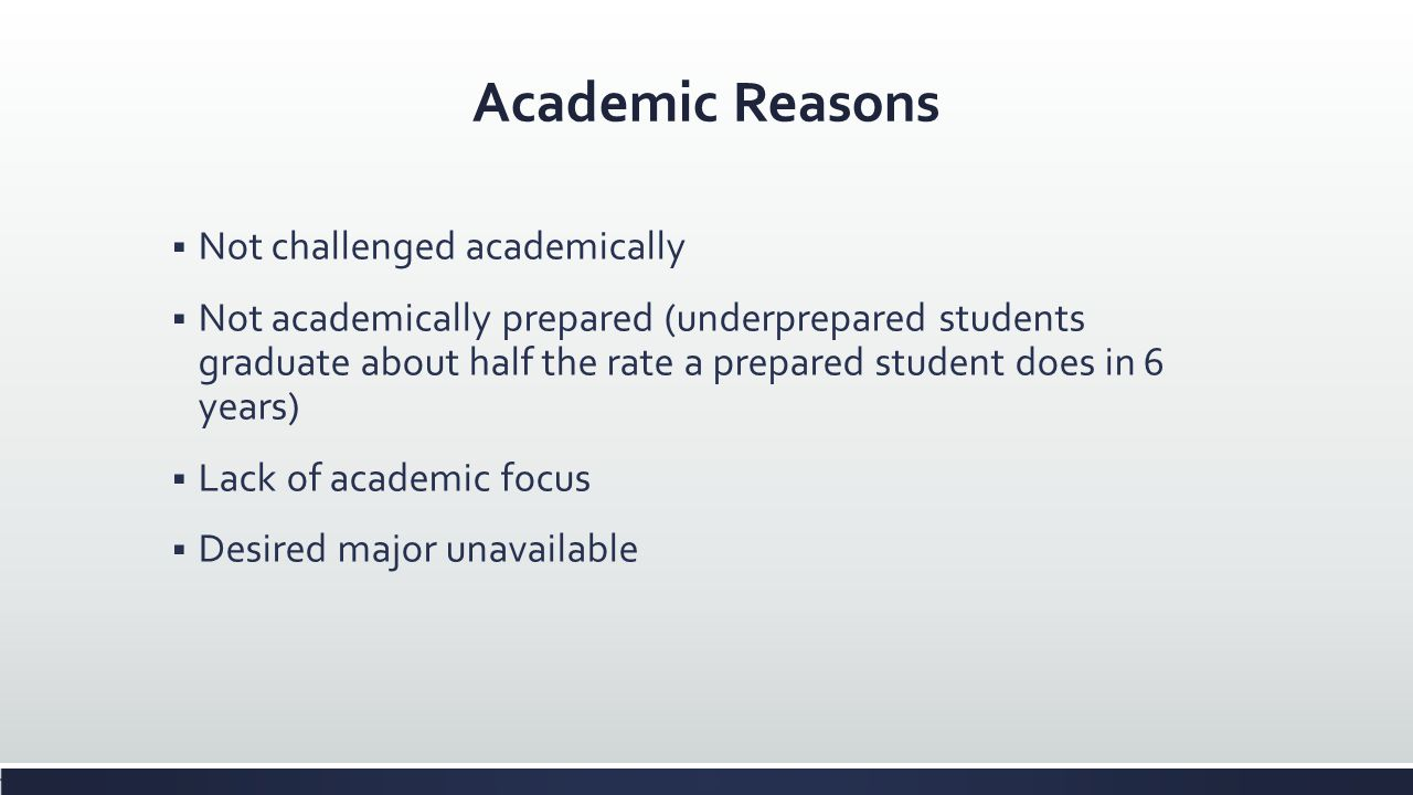 Academic Reasons Not challenged academically