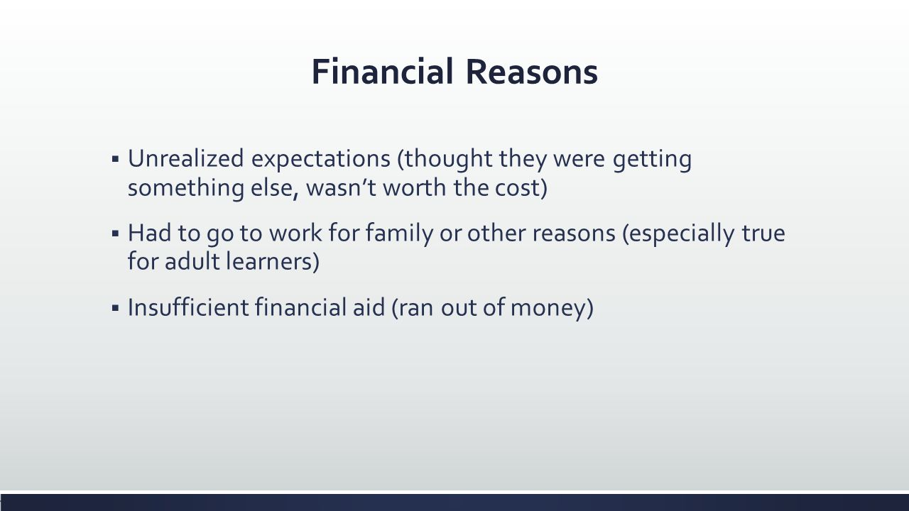 Financial Reasons Unrealized expectations (thought they were getting something else, wasn't worth the cost)
