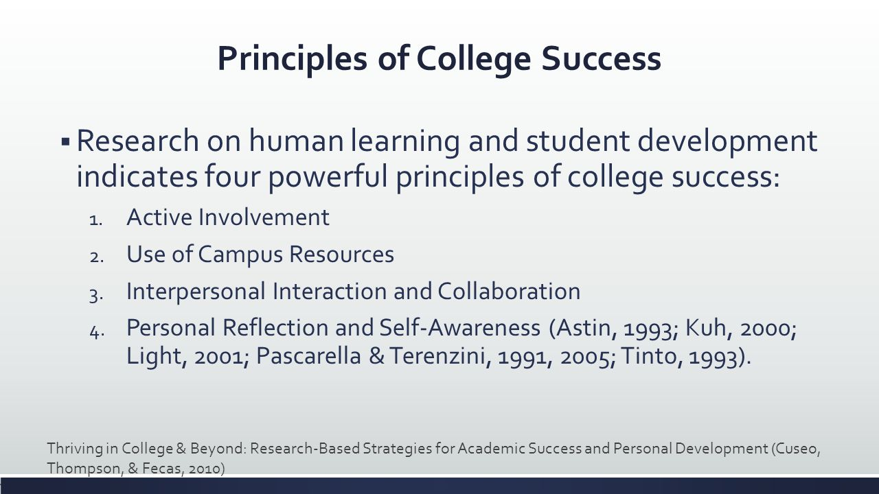 Principles of College Success