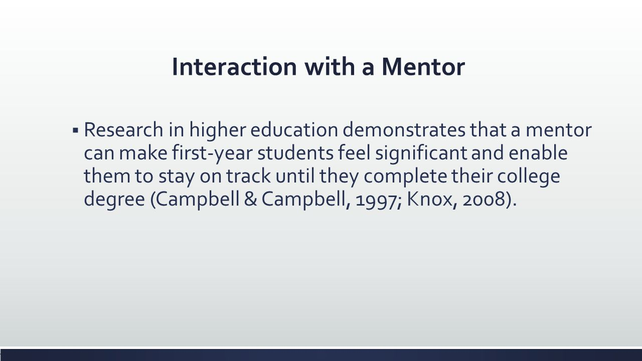 Interaction with a Mentor