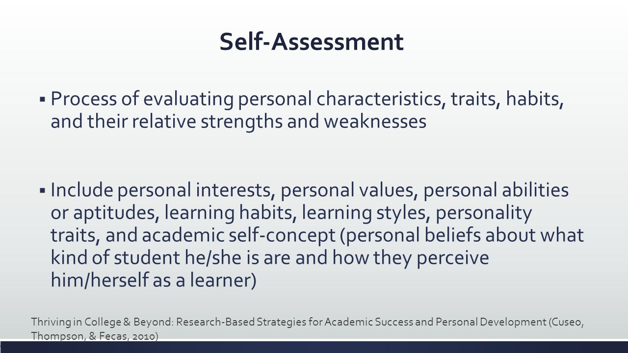 Self-Assessment Process of evaluating personal characteristics, traits, habits, and their relative strengths and weaknesses.