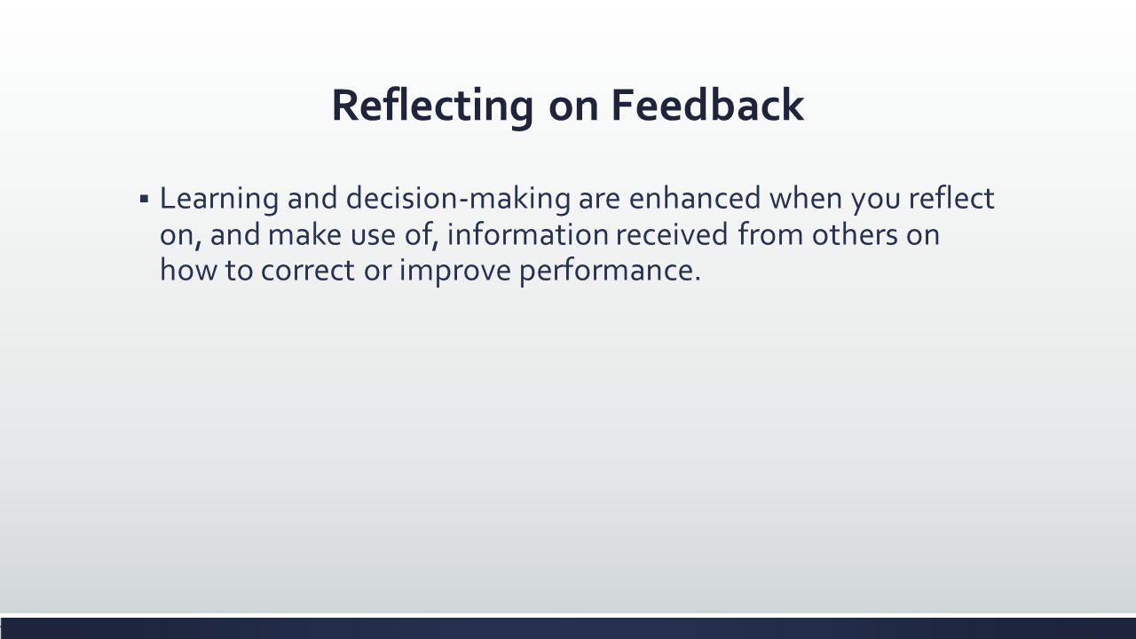 Reflecting on Feedback