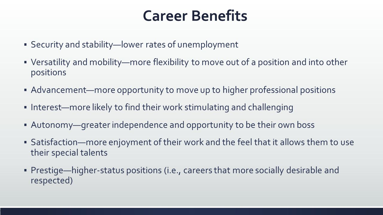 Career Benefits Security and stability—lower rates of unemployment