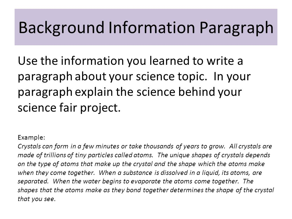 Background Information Paragraph