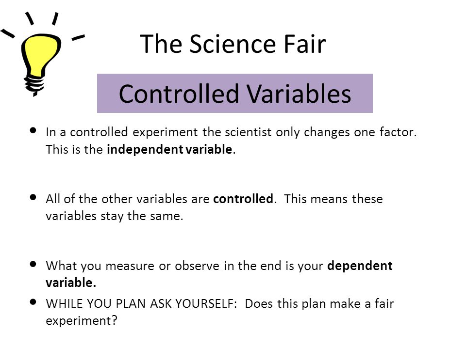 The Science Fair Controlled Variables