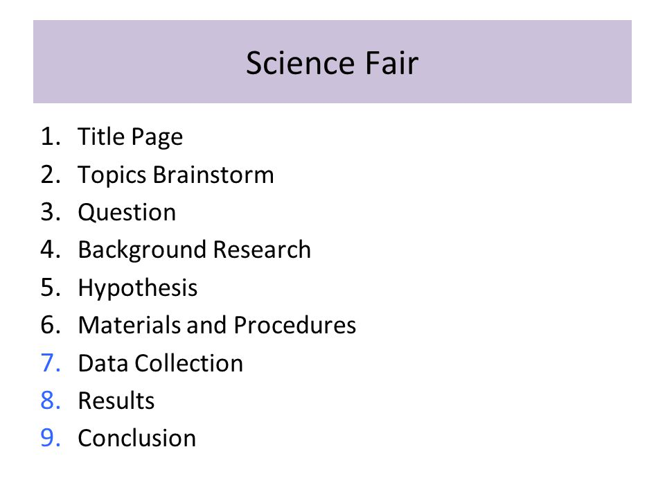 Science Fair Title Page Topics Brainstorm Question Background Research