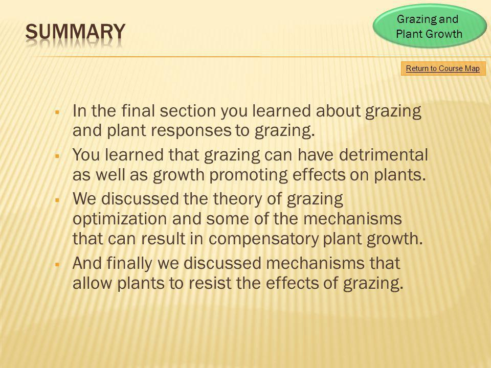 Grazing and Plant Growth. Summary. Return to Course Map. In the final section you learned about grazing and plant responses to grazing.