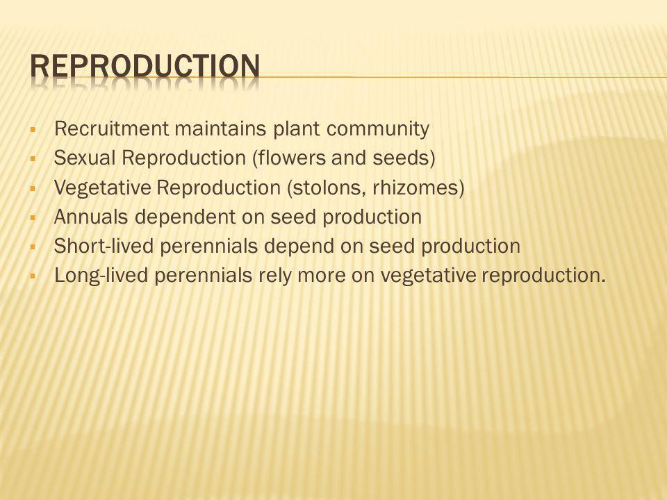 Reproduction Recruitment maintains plant community