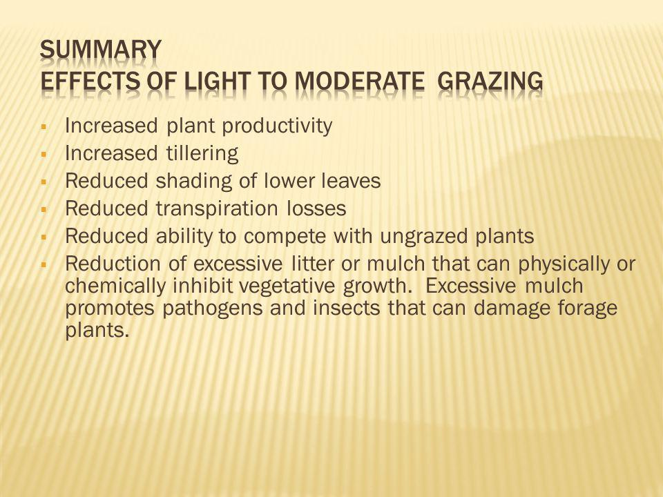 Summary Effects of Light to Moderate Grazing