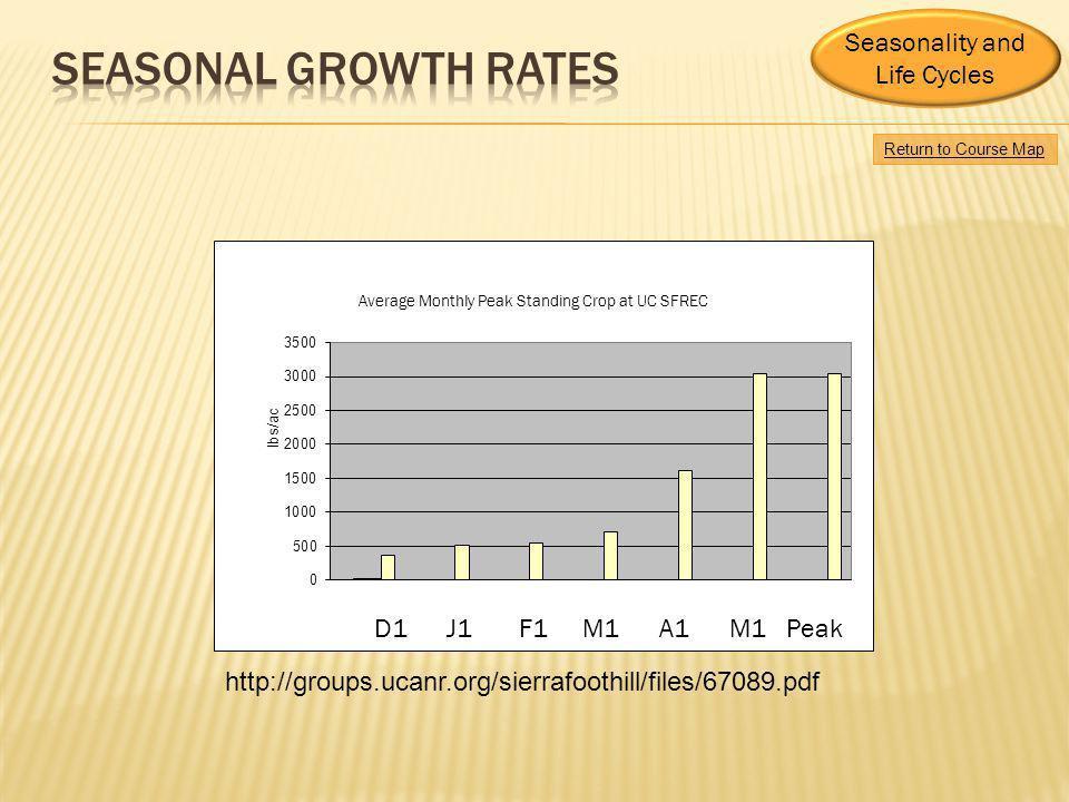 Seasonal growth rates Seasonality and Life Cycles