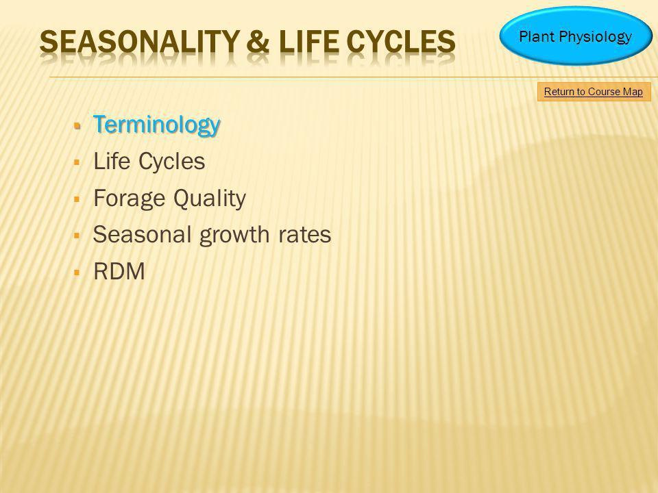 SEASONALITY & LIFE CYCLES