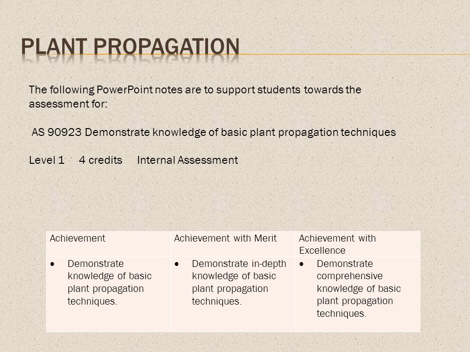 Plant Propagation The following PowerPoint notes are to support students towards the assessment for:
