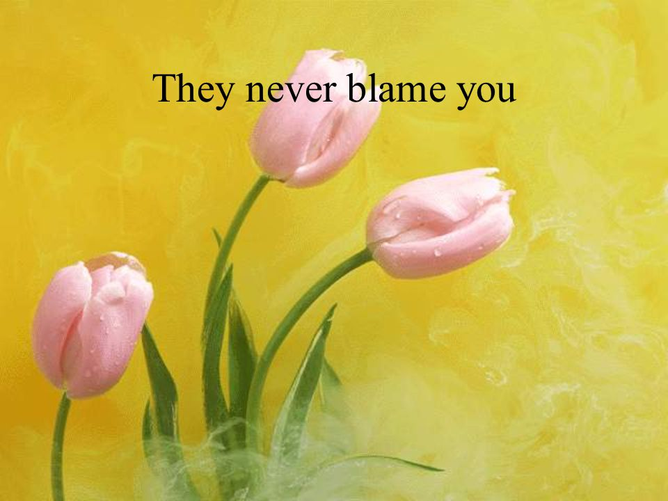 They never blame you