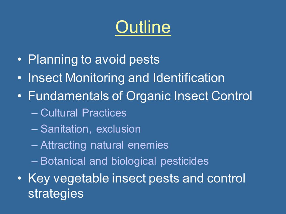 Outline Planning to avoid pests Insect Monitoring and Identification