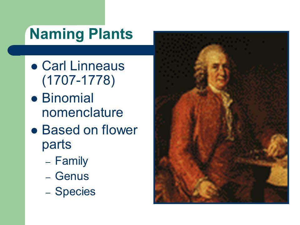 Naming Plants Carl Linneaus (1707-1778) Binomial nomenclature