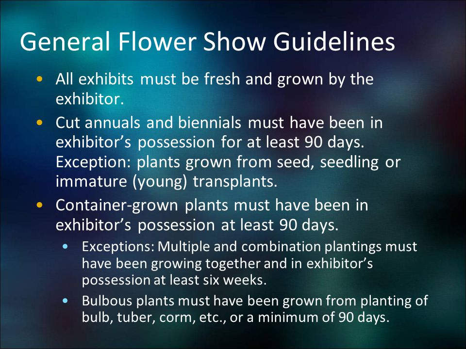 General Flower Show Guidelines