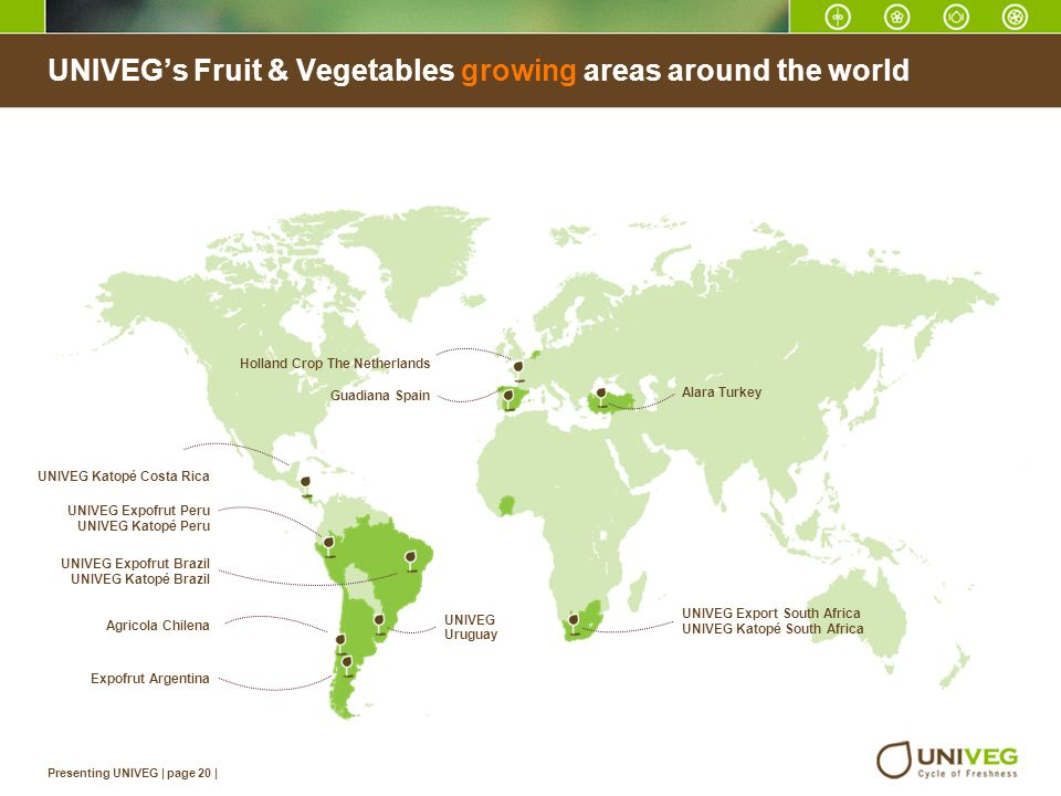 UNIVEG's Fruit & Vegetables growing areas around the world
