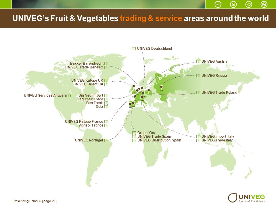 UNIVEG's Fruit & Vegetables trading & service areas around the world