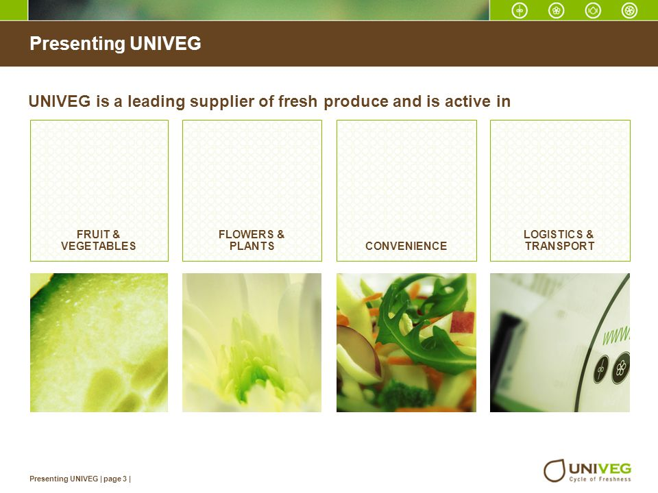Presenting UNIVEG UNIVEG is a leading supplier of fresh produce and is active in. FRUIT & VEGETABLES.