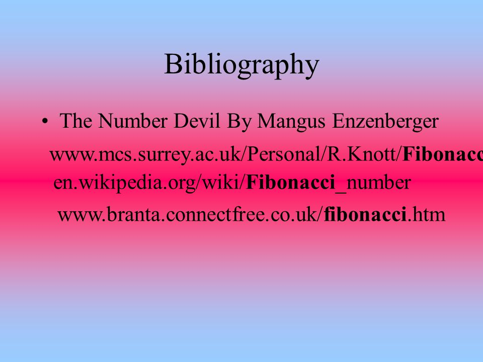 Bibliography The Number Devil By Mangus Enzenberger