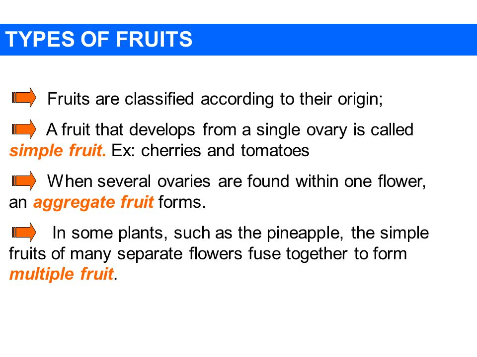 TYPES OF FRUITS Fruits are classified according to their origin;