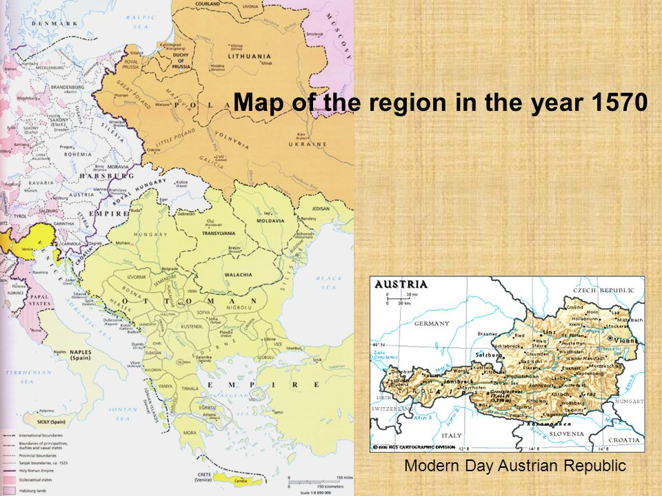 Map of the region in the year 1570
