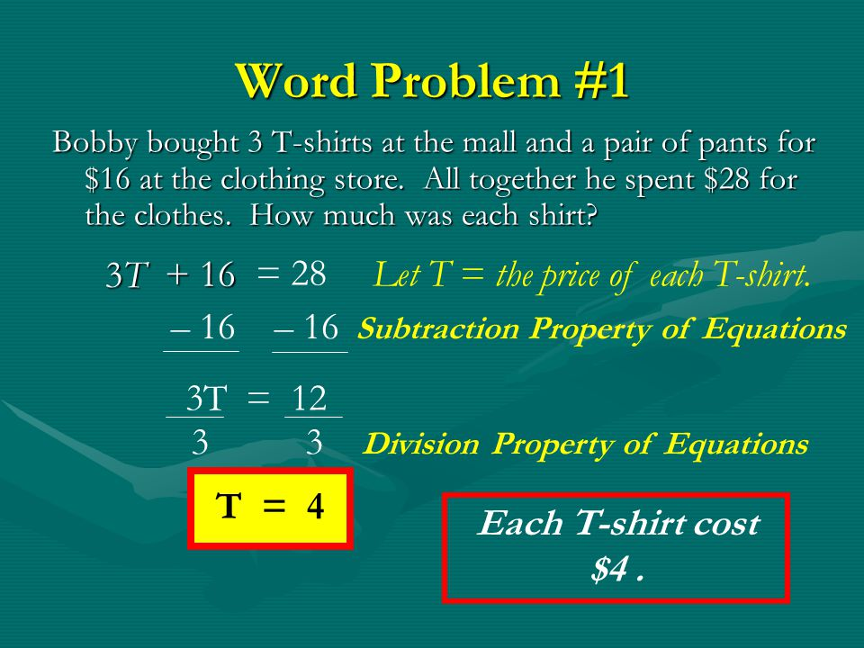 Word Problem #1 3T + 16 = 28 Let T = the price of each T-shirt.