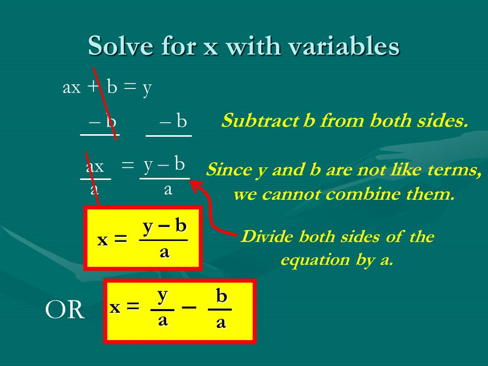 Solve for x with variables