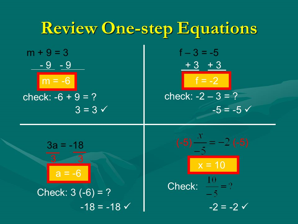 Review One-step Equations