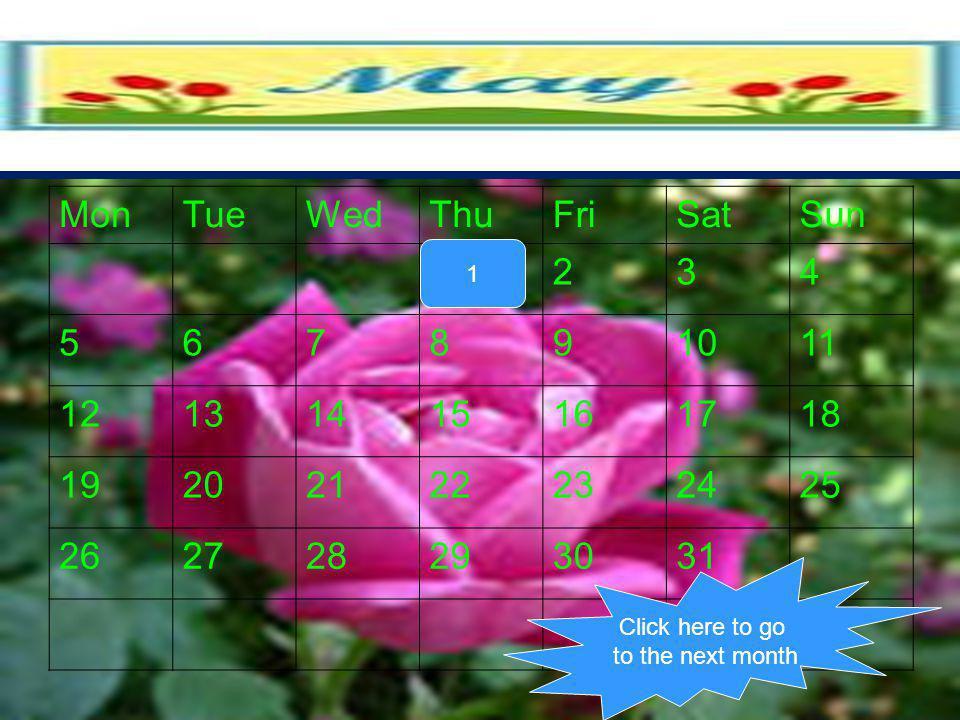 Mon Tue Wed Thu Fri Sat Sun 1 2 3 4 5 6 7 8 9 10 11 12 13 14 15 16 17